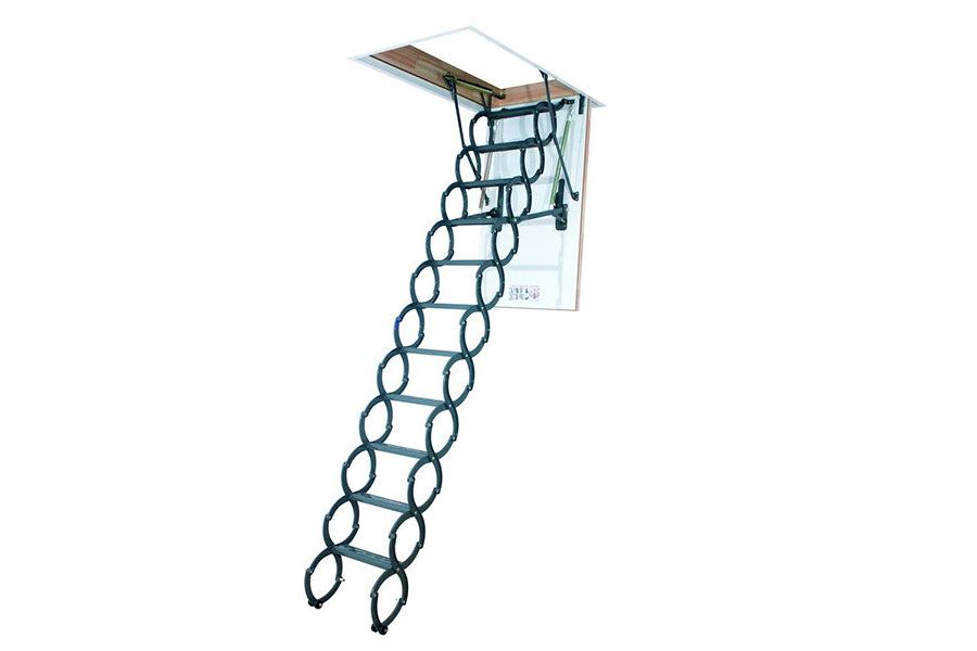 Escalera escamoteable tipo tijera para techo. Fabricada en metal robusto con un cómodo sistema de cierre tipo acordeón