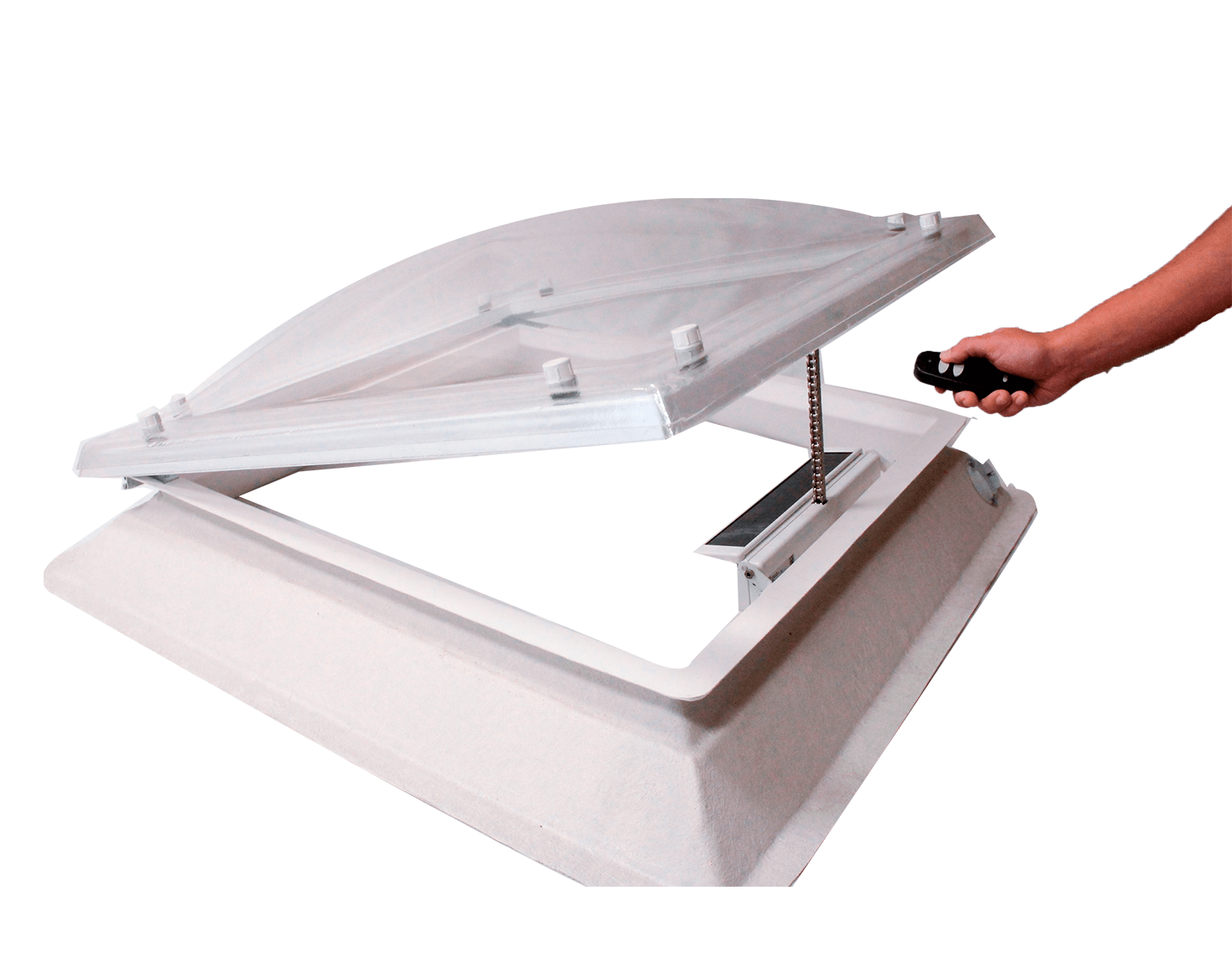 Claraboya de apertura con motor solar. Incluye mando a distancia y placa solar de energia fotovoltaica